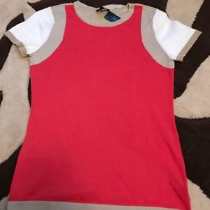 NWT Red and cream top